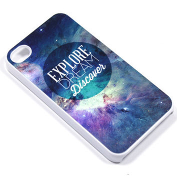 Explore Space Phone Case - iPhone 5, 4, Samsung Galaxy s3 s4, Ipod Touch 4, 5 - Dream discover twain nebular stars - 0025