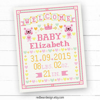 Baby announcement cross stitch pattern - Pink Bear Welcome Baby -Xstitch Instant download-Cute Modern Girl Baby Birth Personalized gift