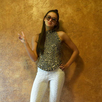 Vintage 90s Silk Gold Beaded Sequined Halter Top
