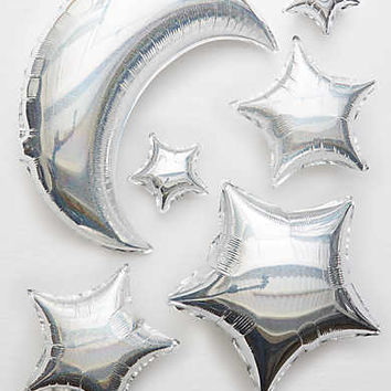 Meri Meri Moon and Star Balloons , Silver
