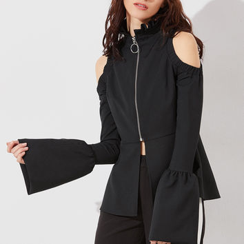 Black Cold Shoulder Bell Cuff Peplum Jacket