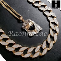 """Iced Out 14k Gold PT Travi Jesus Face 15mm Cuban 30"""" Chain/Concave Necklace S170"""
