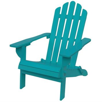 Turquoise Solid Wood Outdoor Patio Folding Adirondack Chair