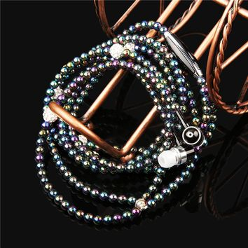 Luxury Bling Diamond Earphone Lady Pearl Necklace Chain Stereo In-Ear Earphones With Microphone For iphone 6 6s samsung Headset