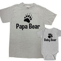 Father Son Matching Shirts Father Daughter Gift For Dad Matching Family Shirts Daddy And Baby Shirt Papa Bear Baby Bear Bodysuit - SA69-617