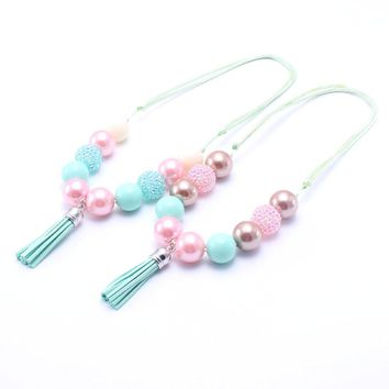 MSH.SUN 2pcs Kids jewelry Lovely Candy color beads Necklace Chunky bubblegum tassel Necklace Adjustable Rope DIY Necklace BN154