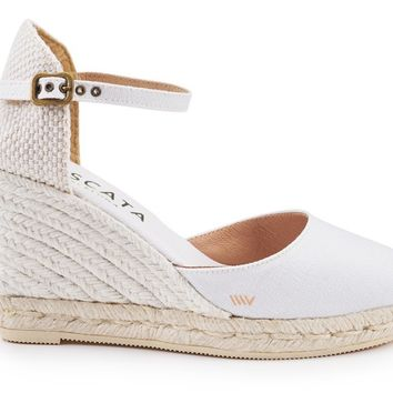 Satuna Canvas Wedges - White Jute