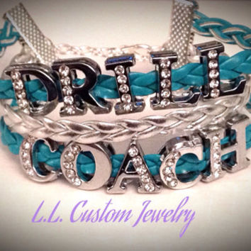 3 Strand - DRILL COACH Rhinestone on Braided Cord- Customize w/ a different Charm or Wording- Choose from the Picture of Charms