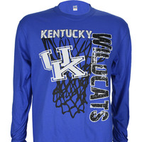 University of Kentucky Super Net on Long Sleeve Blue T Shirt