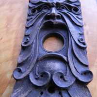 Green Man Doorbell surround- limited edition -vintage style hardware-Finished in bronze, copper or iron