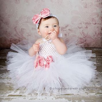 White Girls Tutu Dresses For Baptism Birthday Outfit Halloween Costume Baby Girl with Flower Headband PinK Tutu Baby Dresses