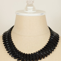 70's__Monet__Bold Black Beaded Collar Necklace