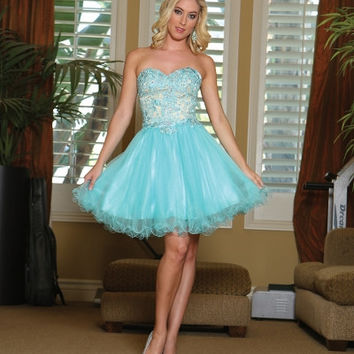 Q1123 Lace Top Homecoming Cocktail Dress