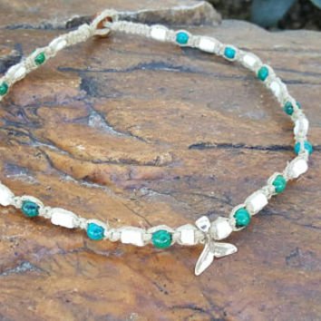 Puka Shell Choker, Hemp Necklace, Whale Tail, Chrysocolla, Shell Necklace, Gift, Hemp Choker, Nautical Necklace, Beach Jewelry, Whales