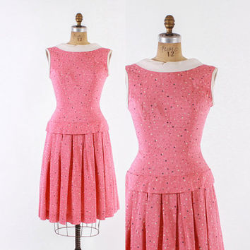 Vintage 50s DRESS / 1950s Bubblegum PINK Linen Cotton Polka Dot Boat Neck Sun Dress M