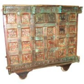 Rustic Chest on Wheels Hand Carved Console Sideboard Chest Antique Indian Furniture | Mogul Interior