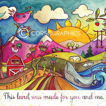 This Land was made for you and me watercolor landscape painting  nursery decor nursery art children's wall art nursery decor landscape art