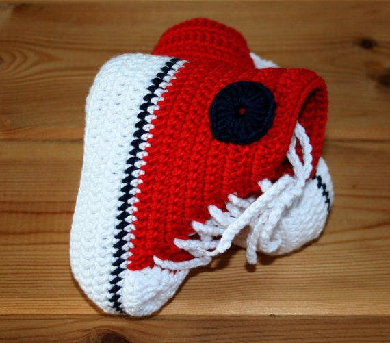 Handmade baby crochet converse style high from ...