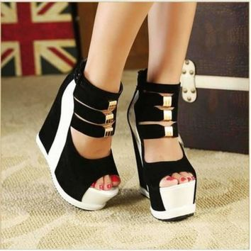 Sexy Strappy Back Zip High Wedge Shoes