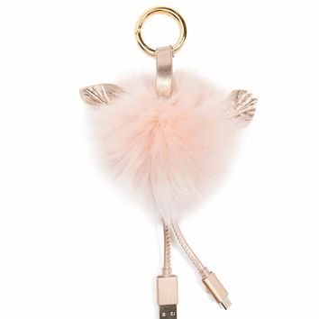Faux Fur Power Bank Keychain