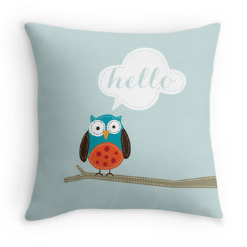 "Owl ""Hello"" Throw Pillow Cover"