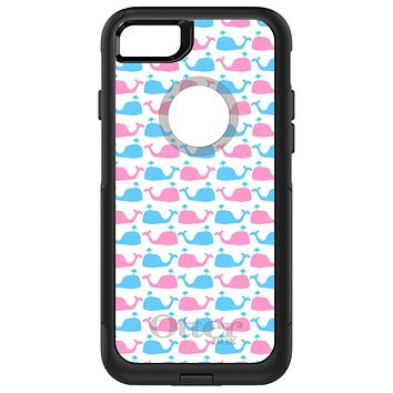 DistinctInk™ OtterBox Commuter Series Case for Apple iPhone or Samsung Galaxy - Blue Pink Cartoon Whales