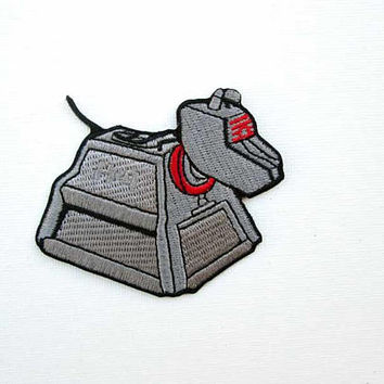 K9 Dr Who Embroidered Patch, Iron on, Robot Dog, Android Dog, K9, Dr Who, Fan patch, Fandom, patchgame, Metal Dog, K9 Robot, TV Patch