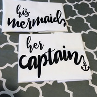 Her Captain His Mermaid Pillow cases, His and Hers Pillow cases, Anniversary Wedding gifts, Decorative Bedroom Pillowcases, Couples Gifts