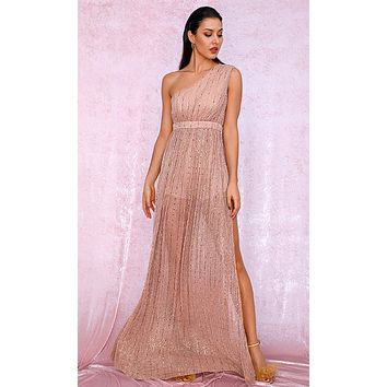 Follow The Feelings Apricot Gold Sequin Sleeveless One Shoulder Sheer Mesh Side Slit Maxi Dress
