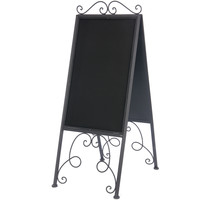 Vintage Extra Large Free Standing Metal Two Sided Chalkboard