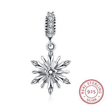 Real 925 Sterling Silver Zircon Snowflake Charms fit Pandora Bracelet