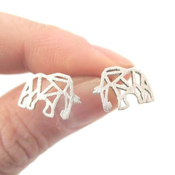 Elephant Outline Cut Out Shaped Stud Earrings in Silver | Allergy Free