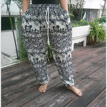 Elephants Print Yoga Pants Hippie Baggy Boho Gypsy UNISEX Tribal Hipster Plus Size Aladdin Clothing Baggy Harem Wide Legs Men Women Clothing