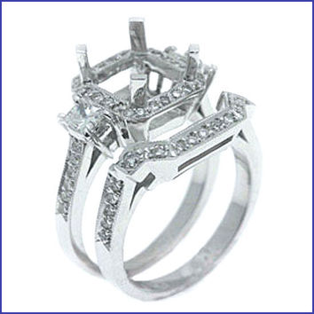 Gregorio 18K White Diamond Engagement Ring and Band  R-1538