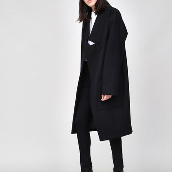 Dropped Lapel Coat in Black