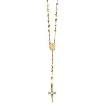 14k Tri-Color Gold 2.9mm Beaded Rosary Necklace with Crucifix, 26 Inch
