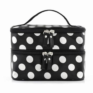 DCCKF4S Black Large Capacity Cosmetic Bag Woman Dots Portable Storage Makeup Bags Canvas Beauty Organiser Handbag Big Travel Bag
