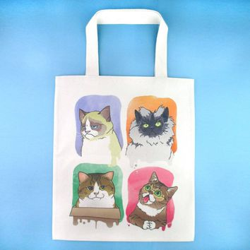 Adorable Kitty Cats Watercolor Print Illustrated Canvas Shopper Tote Bag