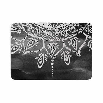"Li Zamperini ""Black & White Mandala"" Gray Abstract Memory Foam Bath Mat"