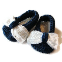 Baby Ballet Flats Bow Slippers Booties White Navy Blue 0-3 Months