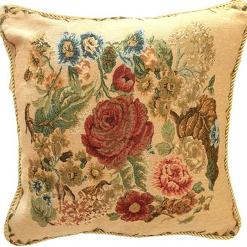 Tache 18 x 18 Inch Colorful Floral Country Rustic Morning Meadow Cushion Cover