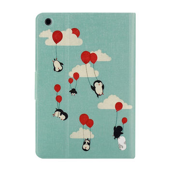 Pu Leather Case Cover For iPad Mini 1 2 3 Retina Hot Sell Fashion Fresh Penguin Painted Cute Flip Suppion