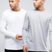 ASOS Longline Long Sleeve T-Shirt 2 Pack In White/Gray Marl SAVE at asos.com