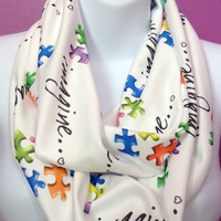 Autism Awareness Jersey Knit Imagine Puzzle Pieces Infinity Scarf
