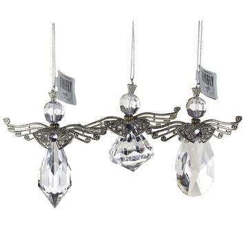 Acrylic Crystal Angel Wing Christmas Ornaments, Clear, 4-1/4-Inch, 3-Piece