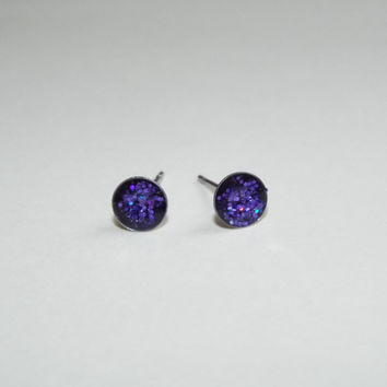 Tiny Galaxy Glitter Earring Studs Purple and Blue Small Post Earrings