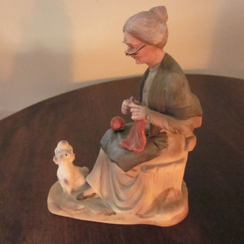 "Old Woman Porcelain Figurine. Very Charming, Great Condition. Made by "" a Price"" in Japan"