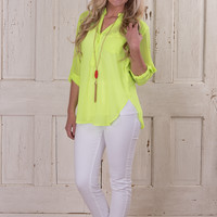 Bright Lights In The City Blouse - Neon Yellow