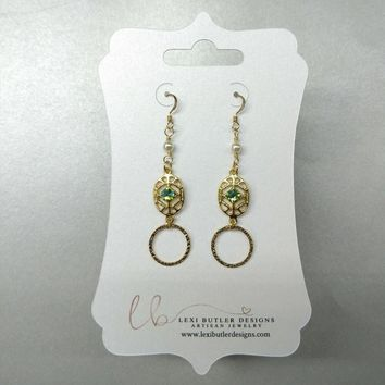 14 KT Gold Filled Hammered Circle Green Crystal Pearl Filigree Earrings