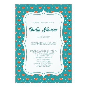 Woodland Fox Baby Shower 5x7 Paper Invitation Card